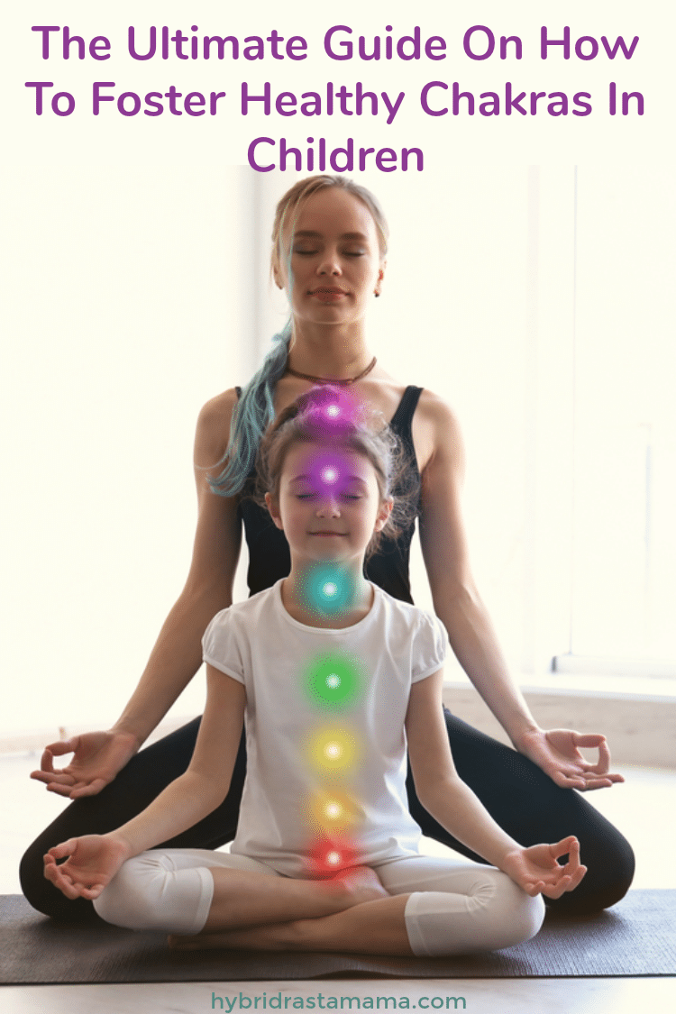 A mother and daughter doing yoga with chakra points to support child development