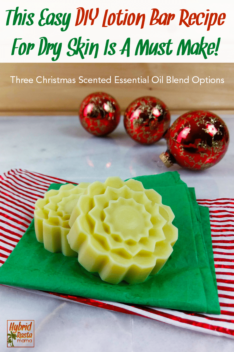 Easy DIY lotion bars with a Christmas scent on a green napkin with red ball ornaments in the background