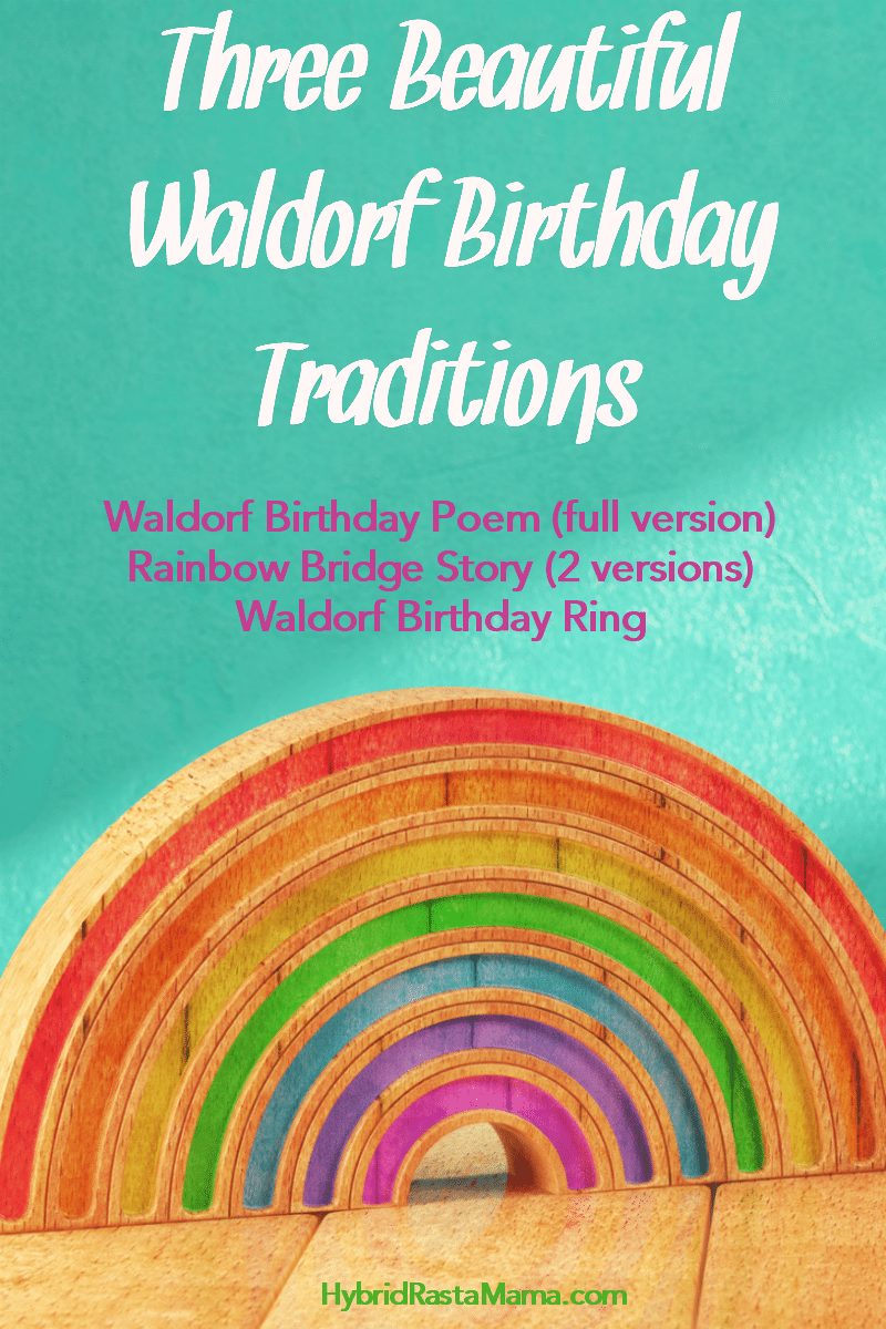 A wooden Waldorf toy rainbow to illustrate birthday traditions