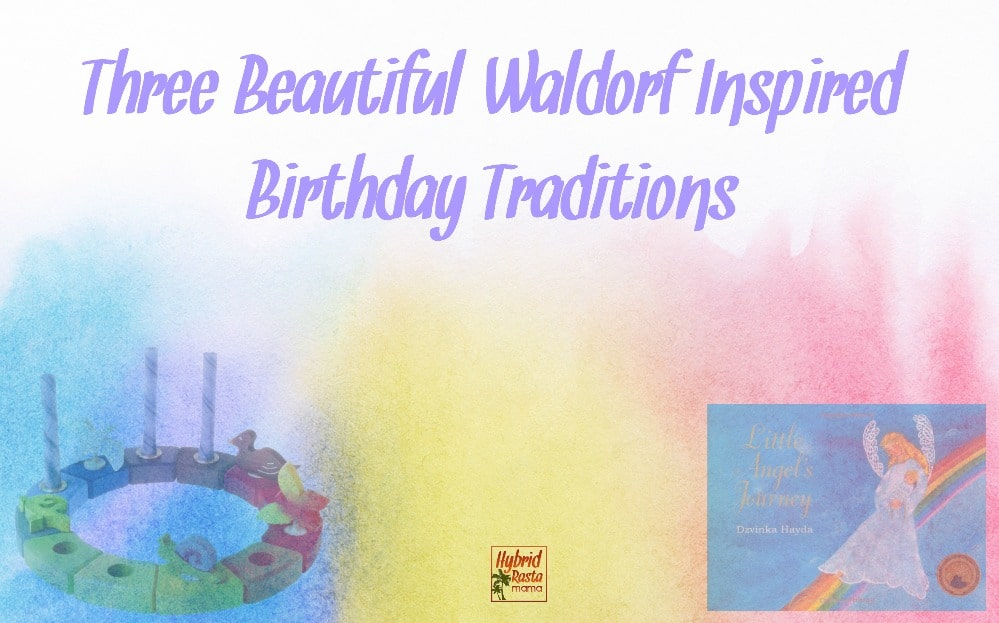 Waldorf birthday ring and the Little Angel's Journey book cover on a pastel tricolor background