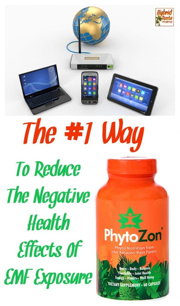 Home wifi network. Internet via router on phone, laptop and tablet pc. Bottle of Phytozon to protect against EMFs