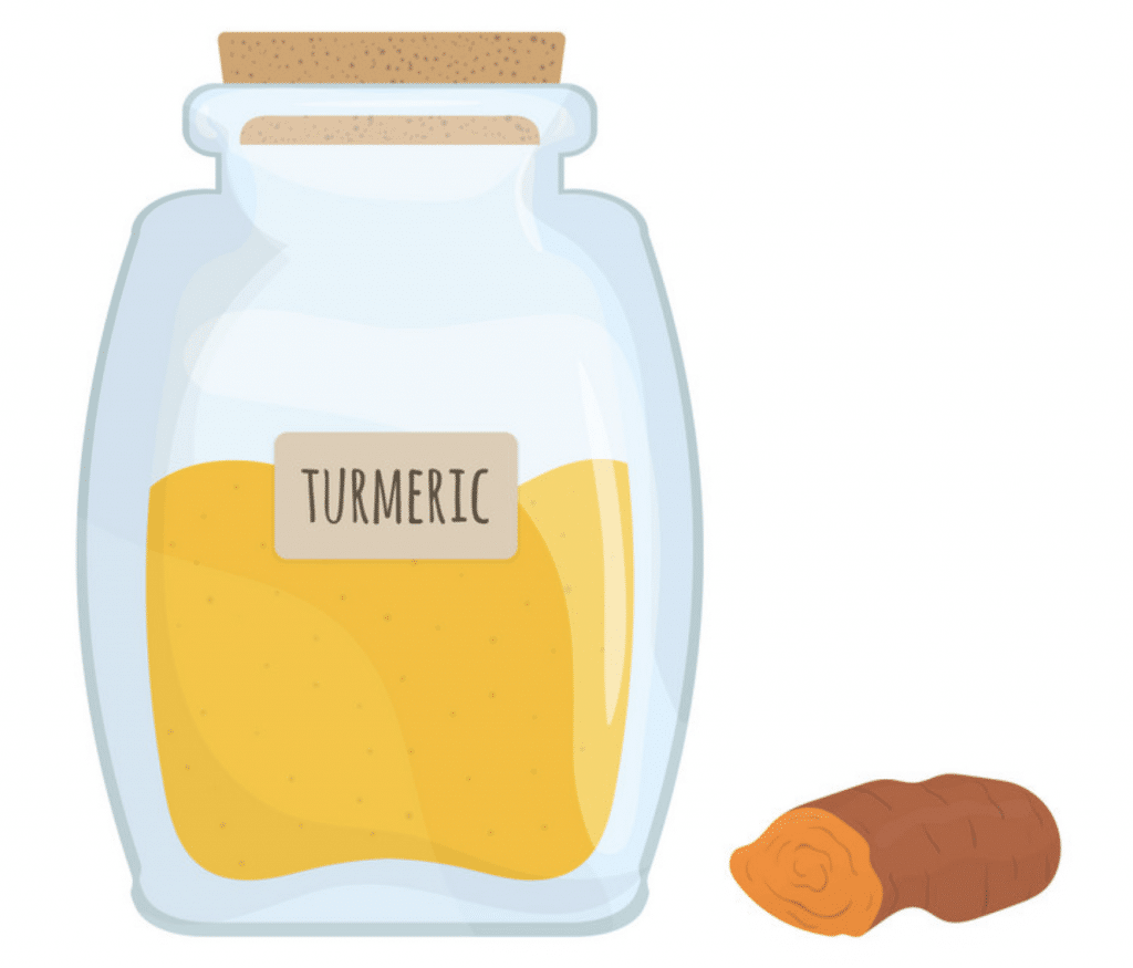 Tumeric in jar and slice or tumeric root