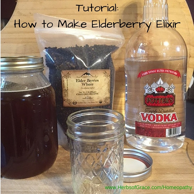 Items needed to make an elderberry elixir - vodka, empty mason jar, bag of elderberries, and finished product