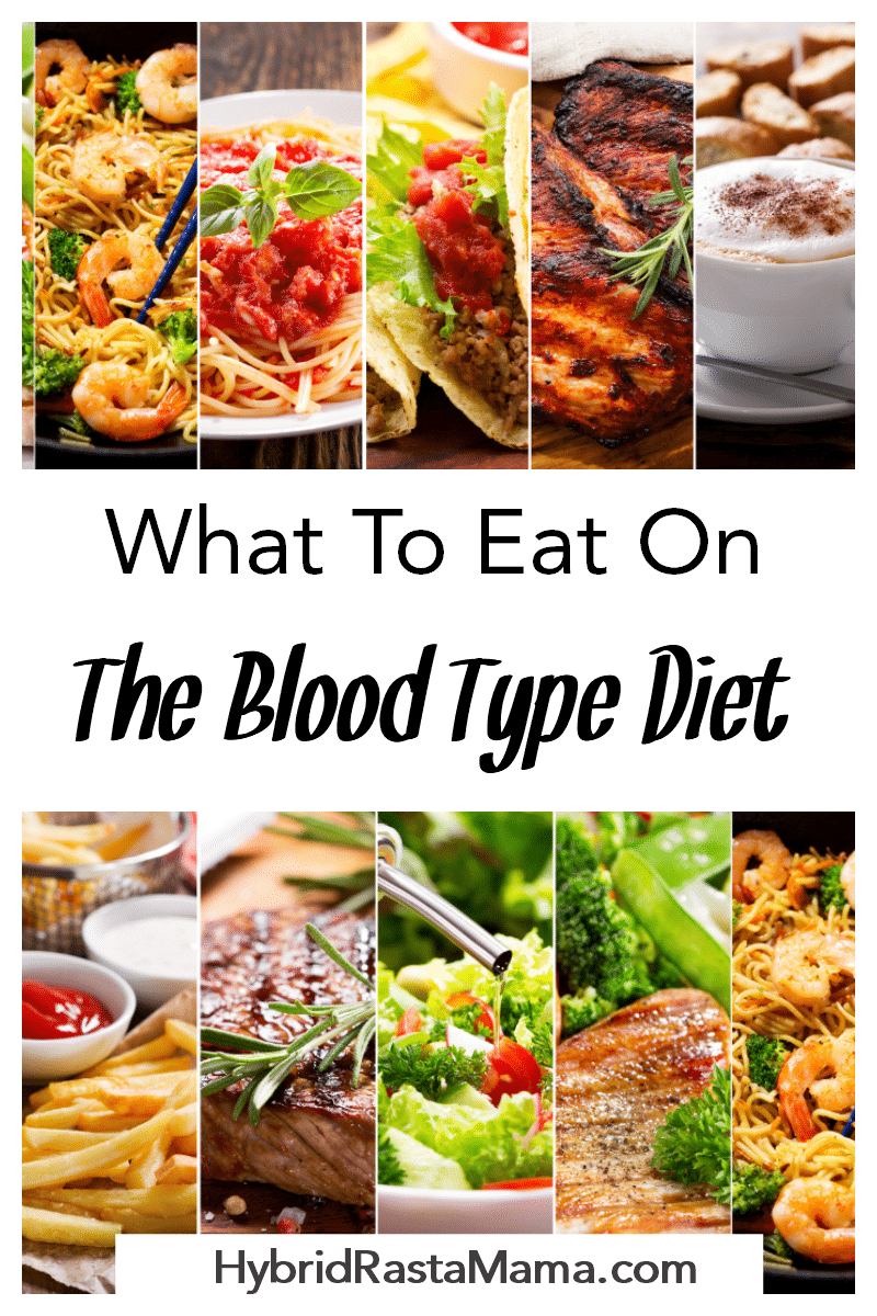 A variety of foods that people can eat on the blood type diet