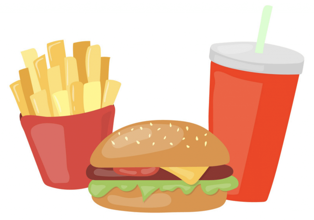 Fries, hamburger, and soda