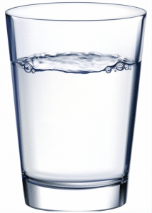 Glass of water for skin health