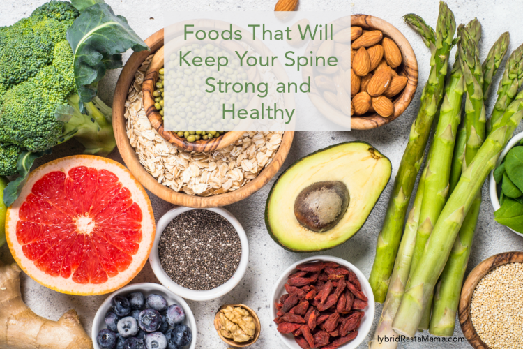 A collage of foods that will keep your spine strong and healthy