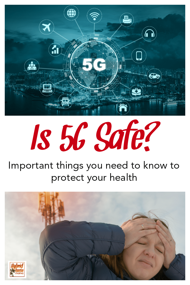 A woman holding her head and standing in front of a 5G cell tower. A 5G network with the words Is 5G Safe written under it.