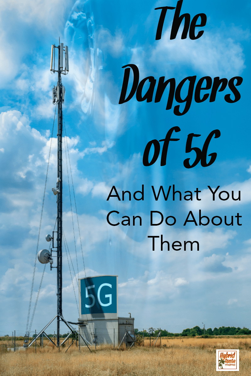 A 5G tower in the middle of a dry field. The dangers of 5G is written in black lettering on the blue sky background.