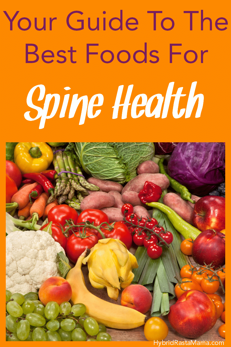 A collage of foods for spine health